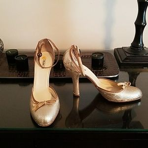 Designer Mary Jane sequined pumps